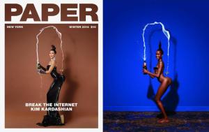 Kim Kardashian and the original inspiration, both by Jean-Paul Goude.